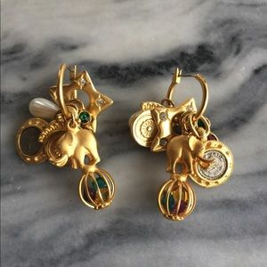 Jewelry - Gold Tone Elephant Multiple Charm Hoops Earrings